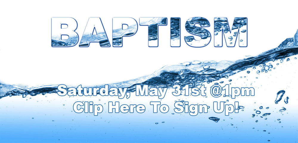 You are invited to join us for our New Direction Church baptism Saturday, May 31 @ 1pm at a location in Moreno Valley. If you have started your faith walk with Jesus Christ your next step is to be baptized. Go to www.NewDirection.tv/baptism to sign up and for more information. Once you sign up someone will contact you with the address where the baptism will take place.