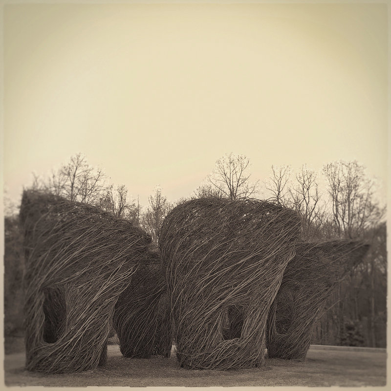 Stick sculpture,  Made From Scratch , by artist Patrick Dougherty at Atlanta Botanical Garden/Gainesville. Created from materials gathered on site. Photo 2017   © Lee Anne White.