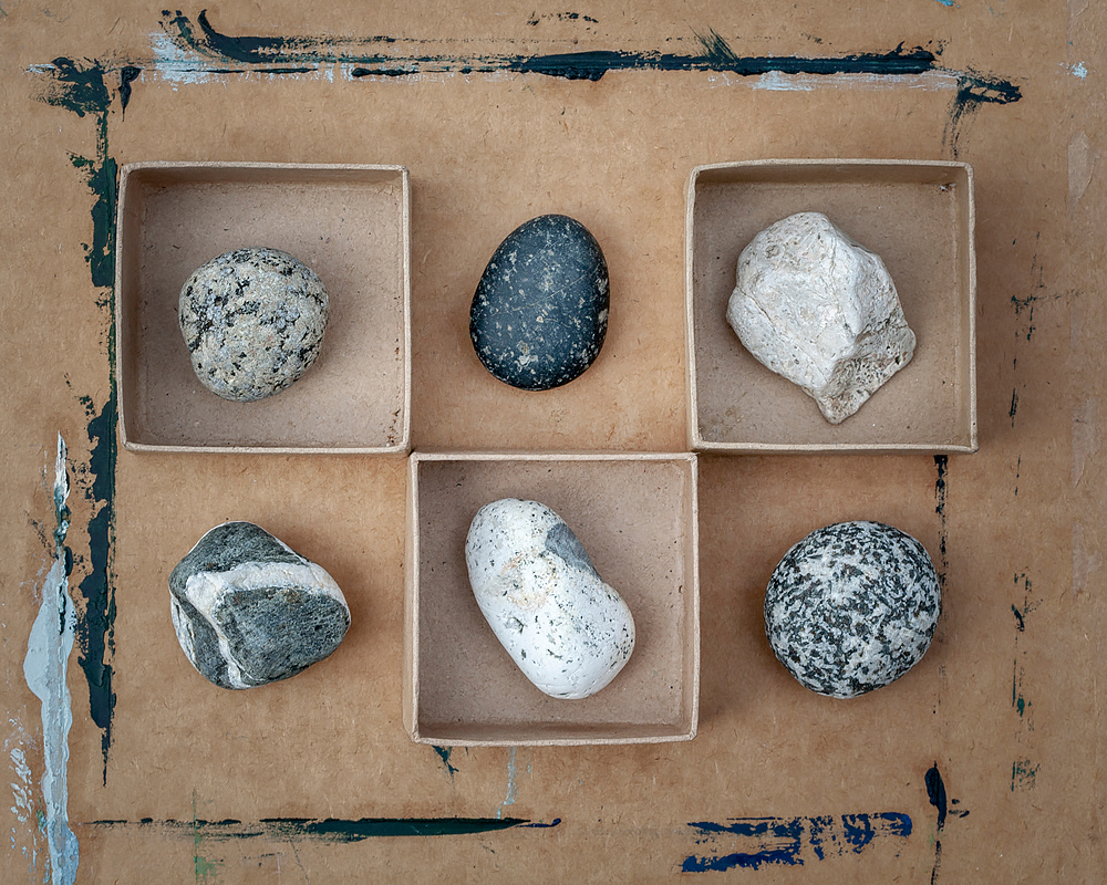 Rocks on Painted Box. ©2018 Lee Anne White.