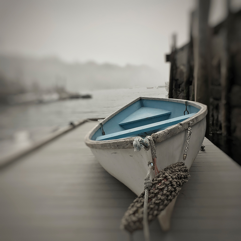 Small boat on dock. Rockport, Maine. ©2018 Lee Anne White