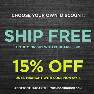 Cyber Monday is a go! Choose your own discount over on modern good!#shopsmall #cottonthatcares #vscocam