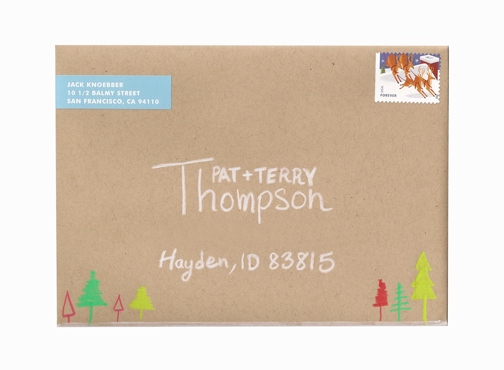 I hand addressed the envelopes and drew some kyoot little trees on along the bottom.