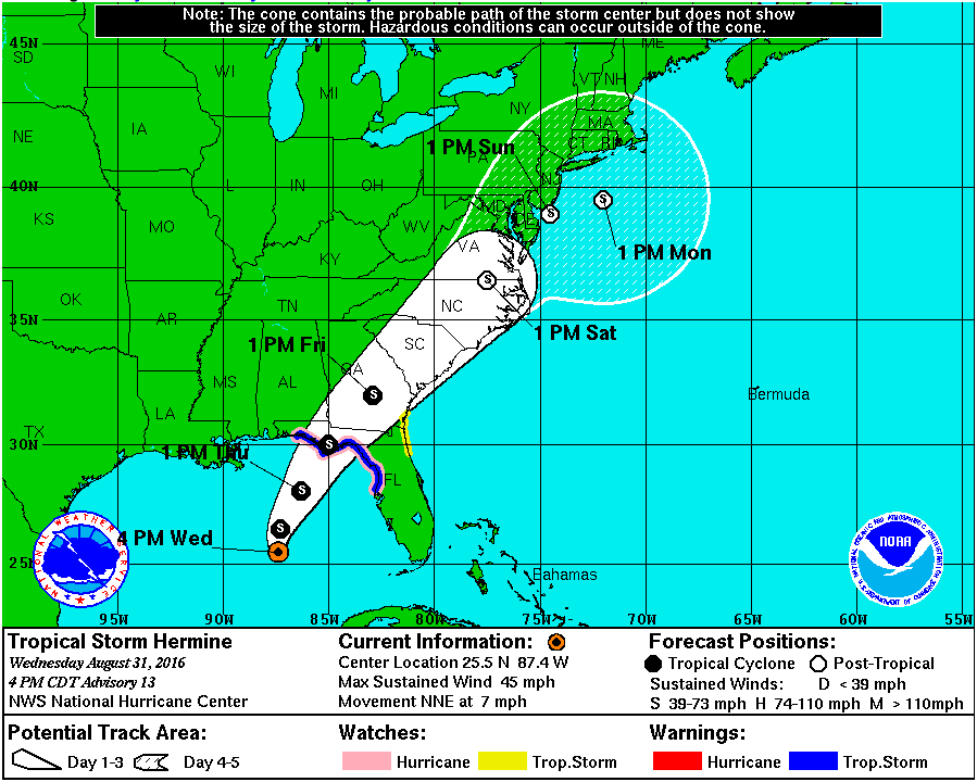 Tropical Storm Hermine's projected path, directly over Virginia Beach on Saturday Sep. 3rd.