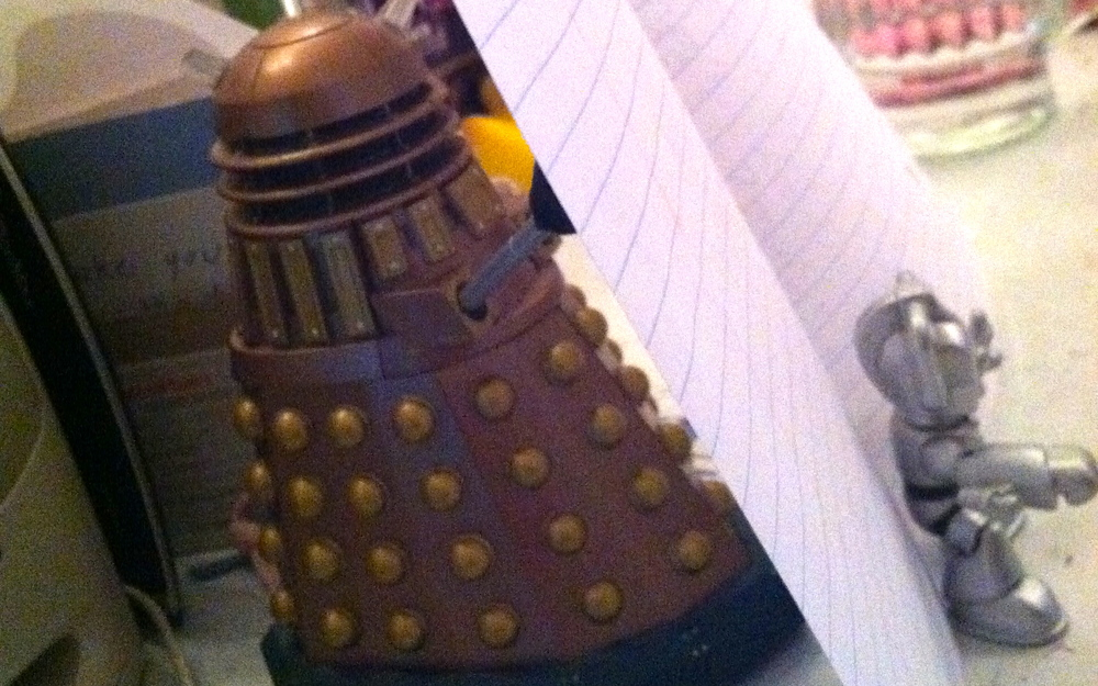 Makeshift Dalek & Cyberman paper holder