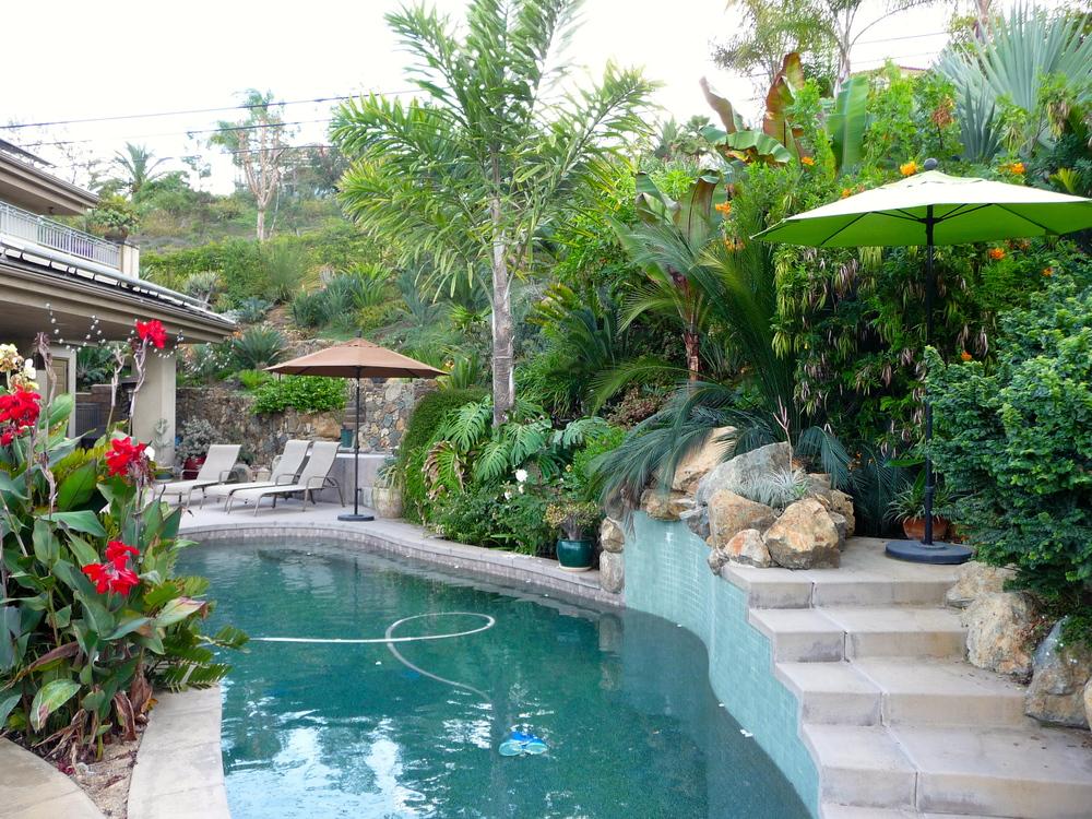 Riedler garden poolside.