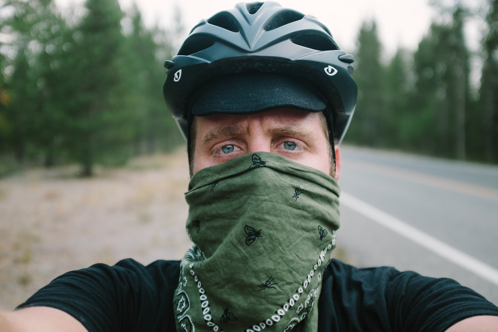 Had to wear a bandana to combat the smoke, it made riding pretty hard. We were glad to get out of the park and into Montana.