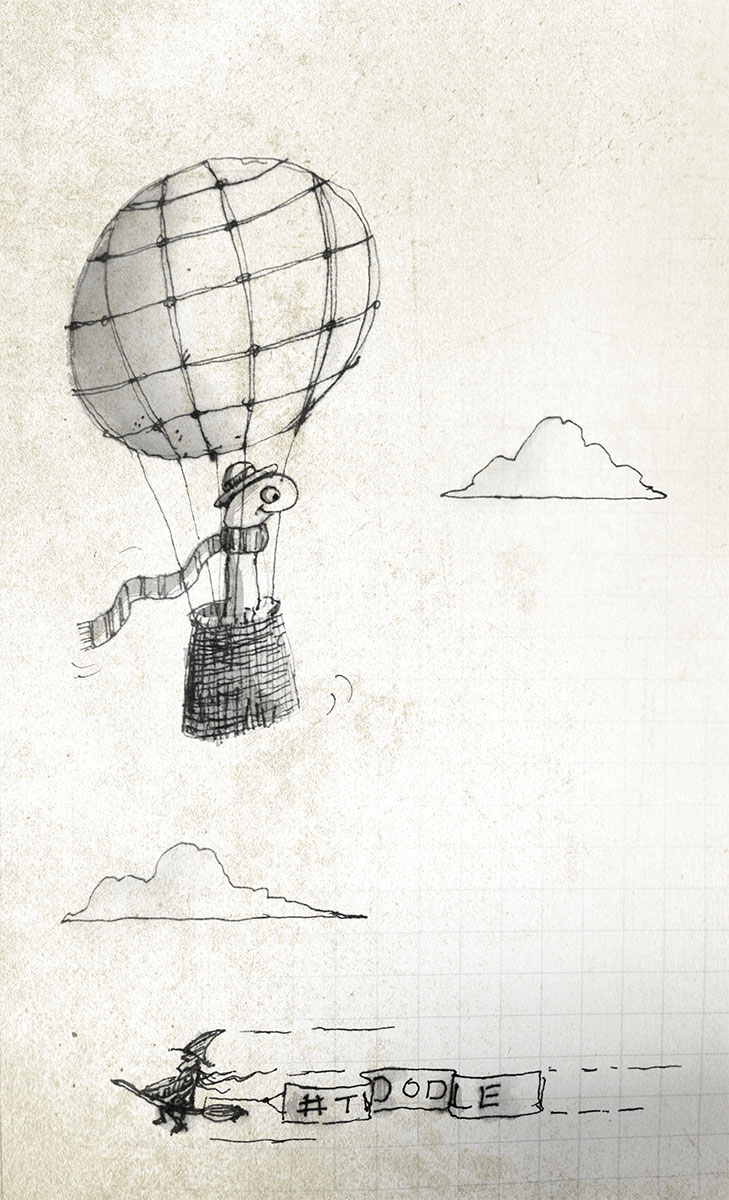#Twoodle Words: Worm, Scarf, Bowler, Hot Air Balloon, Witch
