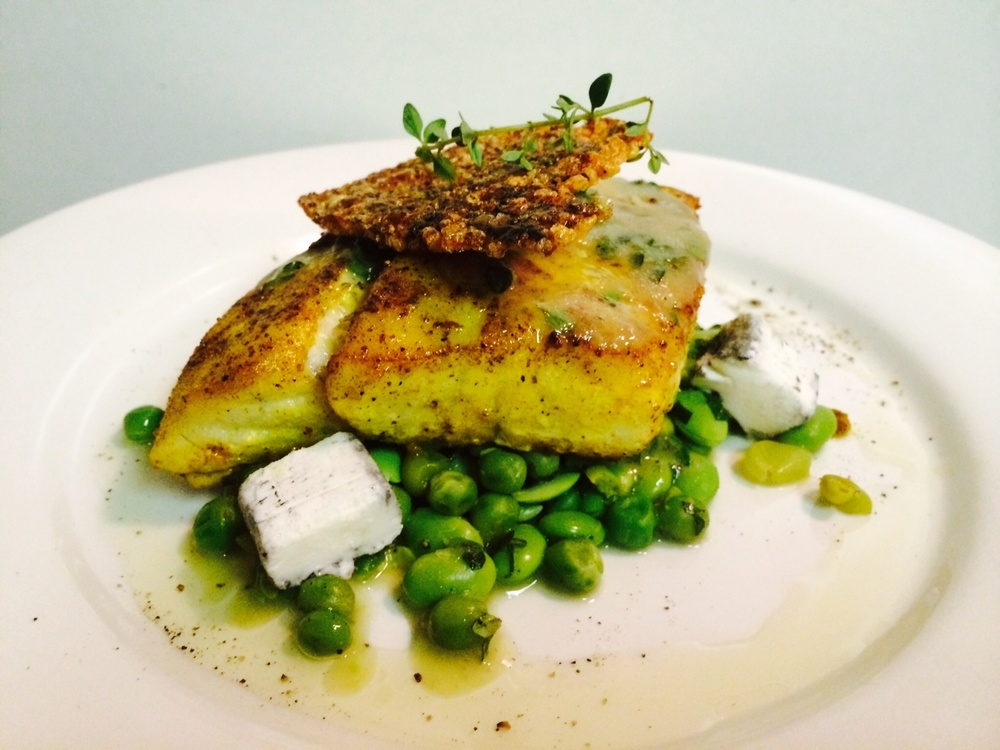 Tumeric Snapper on pea mash.JPG