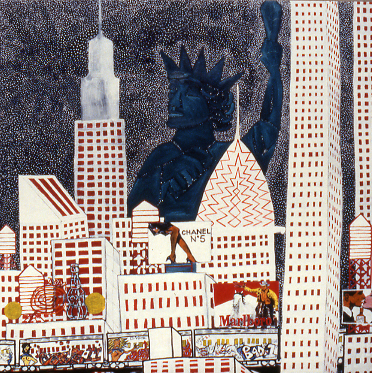 "'nyc' ©1984, oil on canvas, 64""x 60"""