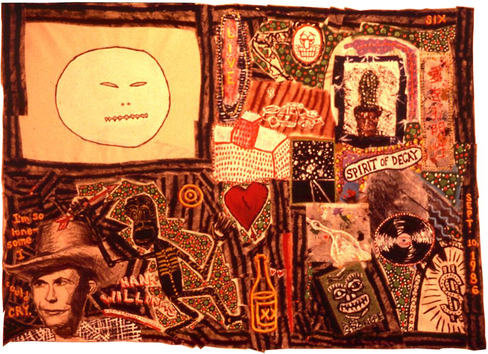 'hank sr.', ©1986, acrylic, patched canvas, art sponge, wood chips, graphite, dimensions