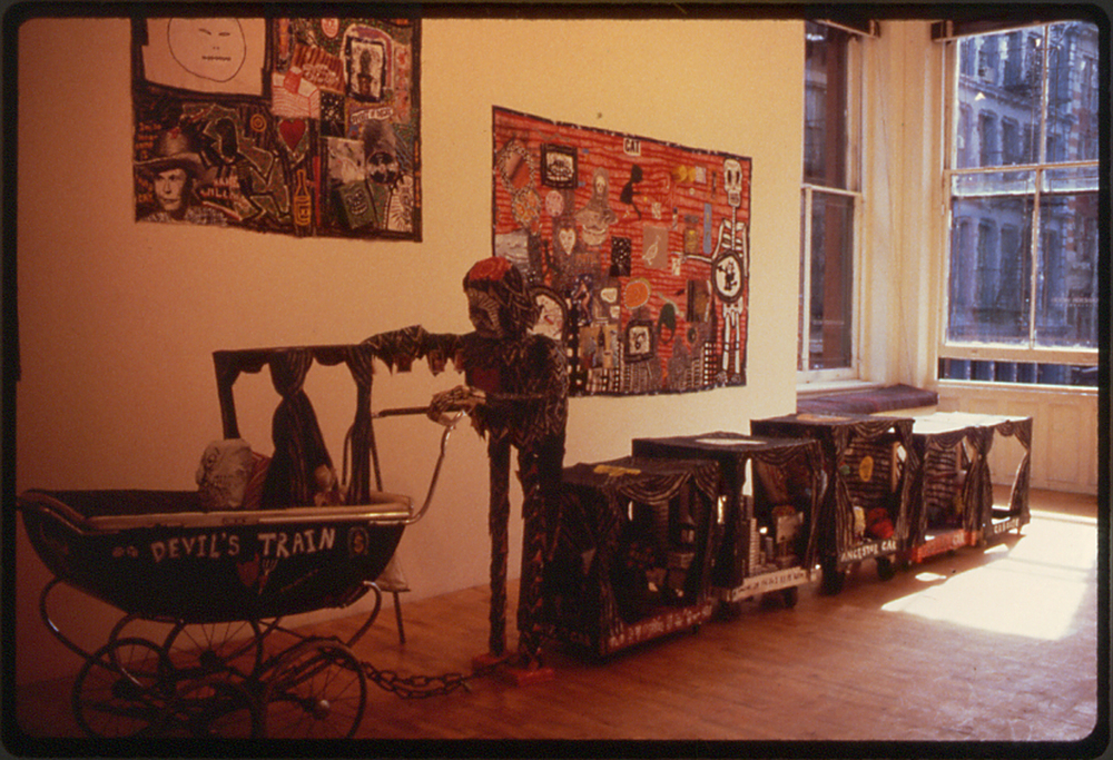 installation shot of 1986 exhibit at the Alexander Wood Gallery, SoHo, NYC