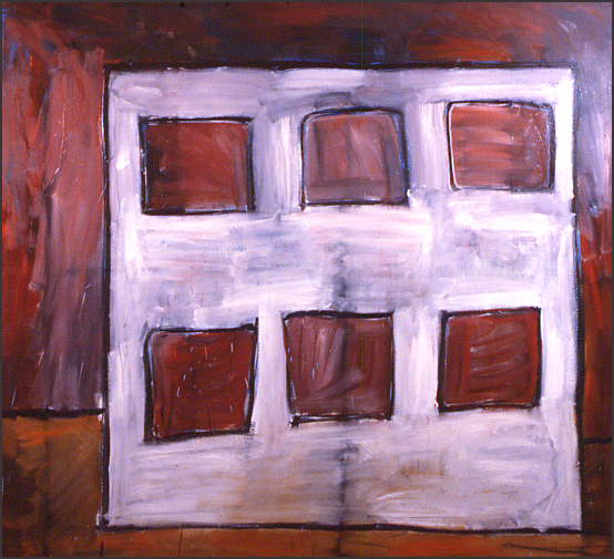 """Edifice II,"" 60"" x 66"", oil on canvas, ©5.1982"