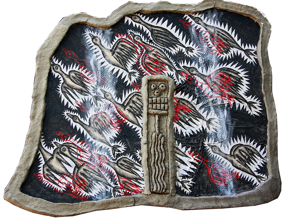 "'flock' ©1991, acrylic, patched canvas, shed boa constrictor skin, canvas, celluclay on wood, approximately 25"" x 31 1/4""."