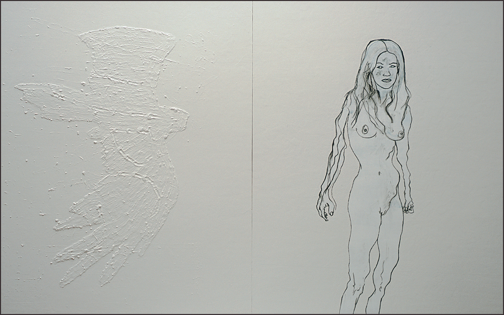 And here's the original painting. The panel on the left is in relief, with a lot of nuanced white on white brush action.