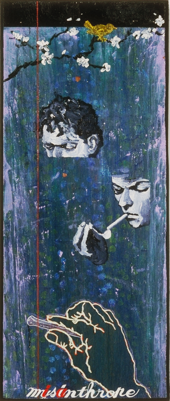 """Misanthrope (reservoir terrorism)"" 22.5"" x 10.5"", acrylic on wood, ©1998"