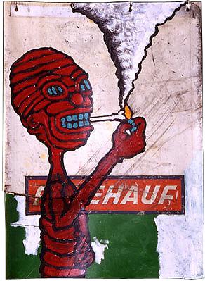 """""""Mudflap (HAUF)"""", 21"""" x 35"""", acrylic on mudflap, ©1995"""