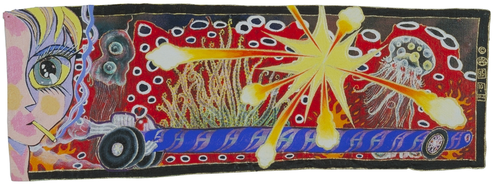 'saster' ©1995, acylic on canvas on wood,