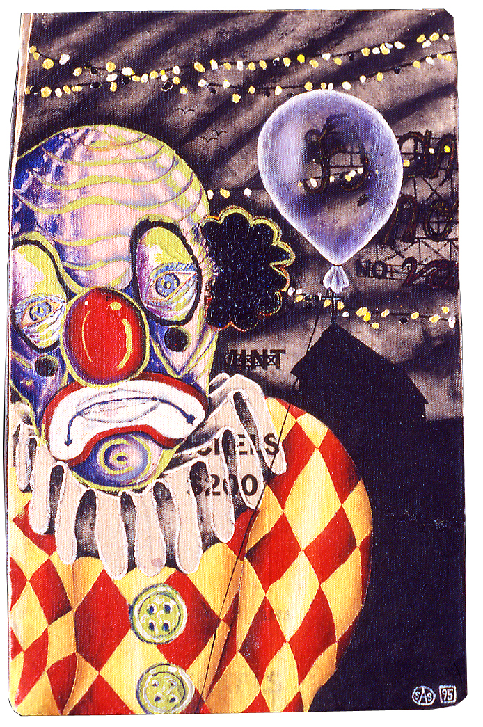 "'sad clown' ©1996, acrylic on coin bag on wood, 11"" x 15""."