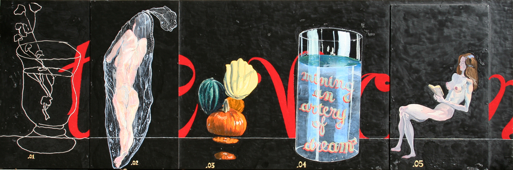 """mining an artery of dreams"" 23.3"" x 69"", oil, enamel, acrylic on wood, ©2002"