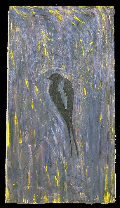 'bird on wire' ©1996, acrylic on wood,
