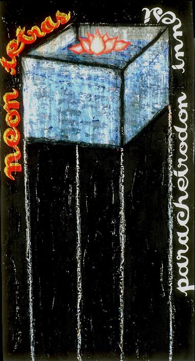 'neon tetras paracheirodon innesi' ©1999m oil, acrylic, charcoal, oil pastel on wood,