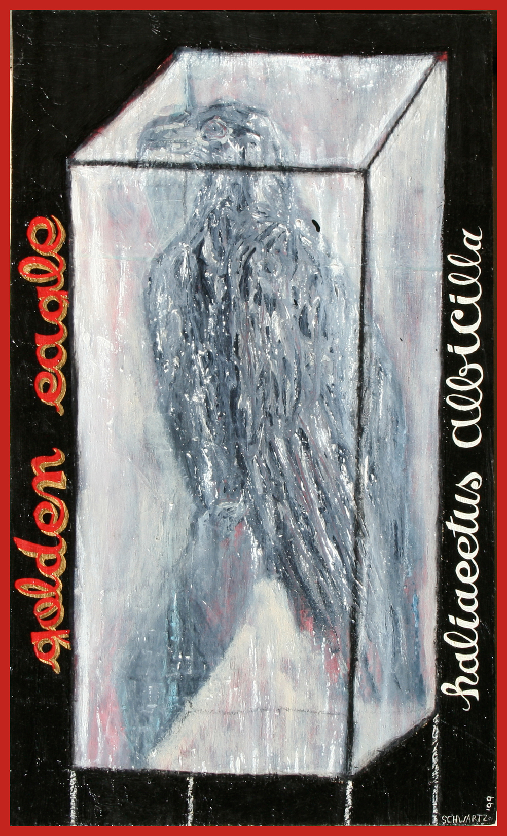 'golden eagle haliaeetus albicilla' ©1999, oil, acrylic, charcoal, oil pastel on wood,