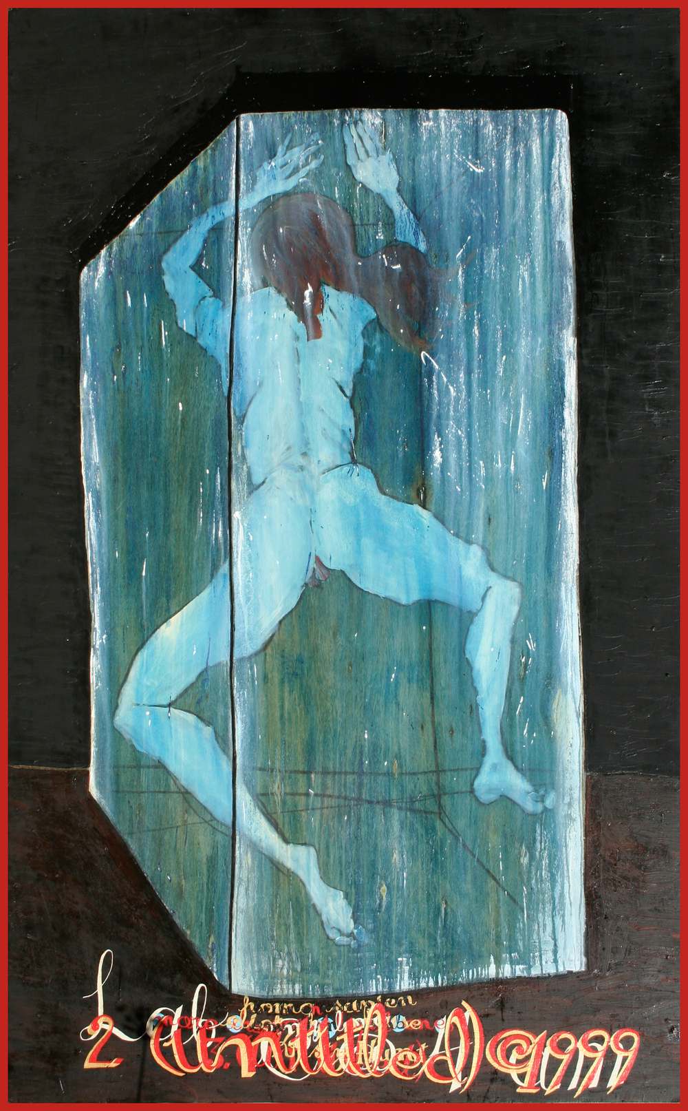 """2 (Untitled) ©1999,"" 70"" x 40"", oil, acrylic, charcoal, on wood, ©1999"