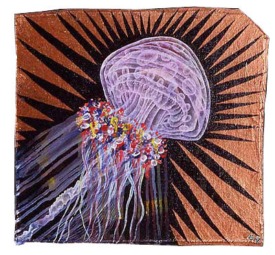 "'jelly blast' ©1995, 11"" x 11.5"", acrylic on canvas on wood."