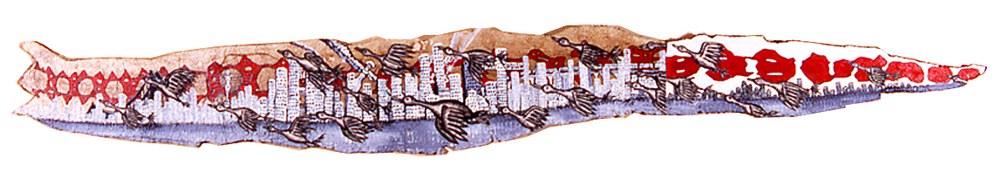 "'manhattan skyline (hudson river)', shed snake skin, patched canvas, acrylic on snakeskin, not sure how long but i know my snake rosy was longer than 96"" ©1996"