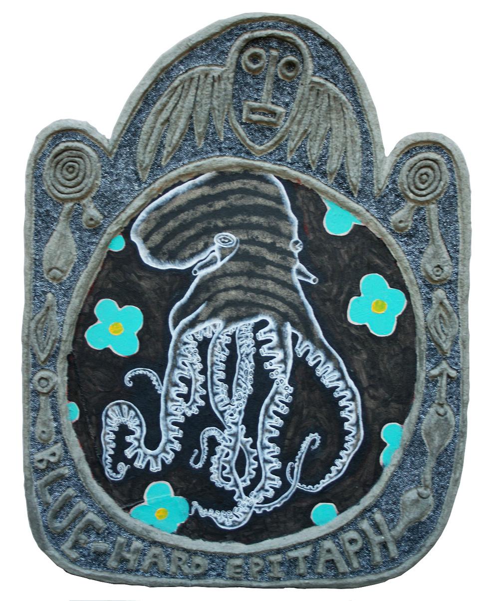 """'blue' ©1988-90, acrylic, aluminum, celluclay on wood, 37"""" x 28""""."""