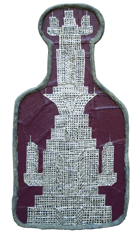 "'transformer hi rise' ©1988-91, aluminum, enamel, celluclay on wood, 31"" x 16 1/4""."