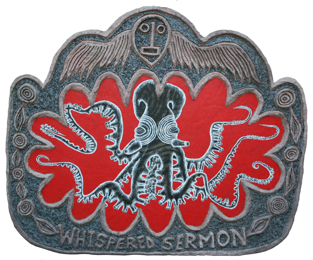 "'whispered sermon' ©1988-91, acrylic and celluclay on wood, 35"" x 48""."