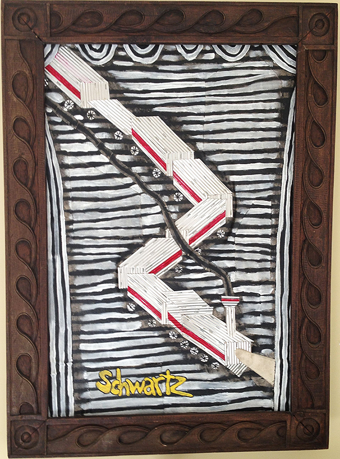 """Schwartz Train"", acrylic, aluminum, patched canvas, & wood ©1986-2013"