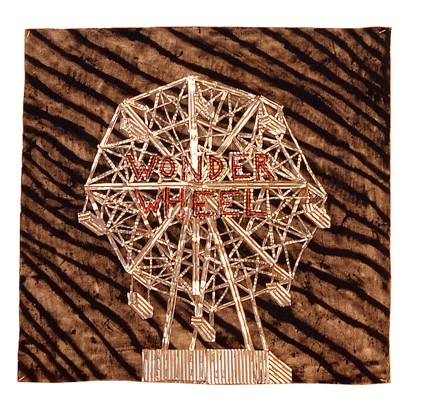 "'wonder wheel' ©1987, acrylic, aluminum on canvas on wood, 25"" x 25"""