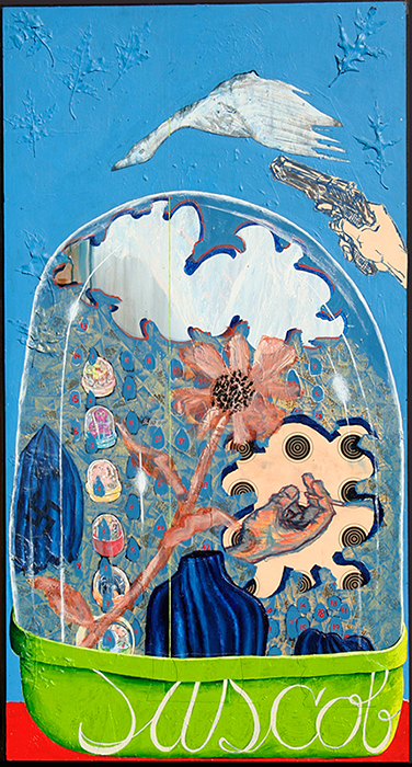 "'Plastic Egg Nirvana', 45.375"" x 24.5"", acrylic, maple leaves, target, and oil-pastel on wood ©1997"