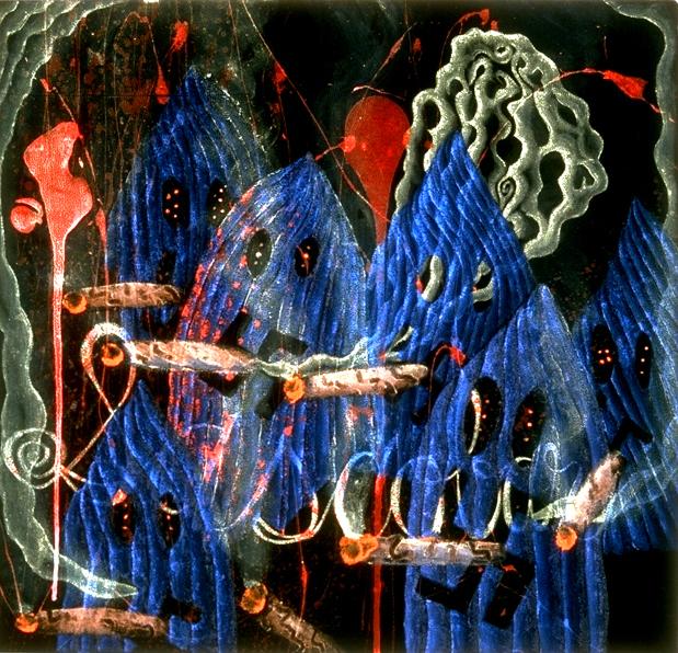 """'klansmen' ©1995, acrylic on velvet, 18"""" x 22""""."""