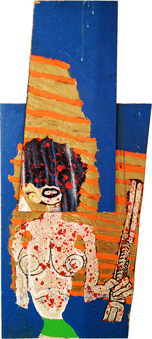 "'twisted sister' ©1996, oil, collaged text on wood, 29"" x 13""."