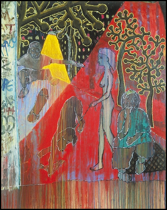 """Skate NYC"", 62"" x 48"", acrylic on wood, ©1995"