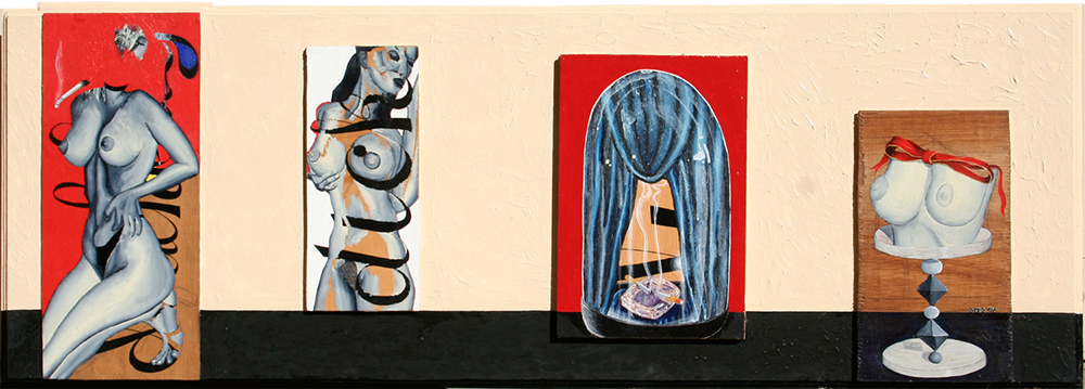 "'objects as women' ©1997, 25 1/2"" x 65"", acrylic on wood."