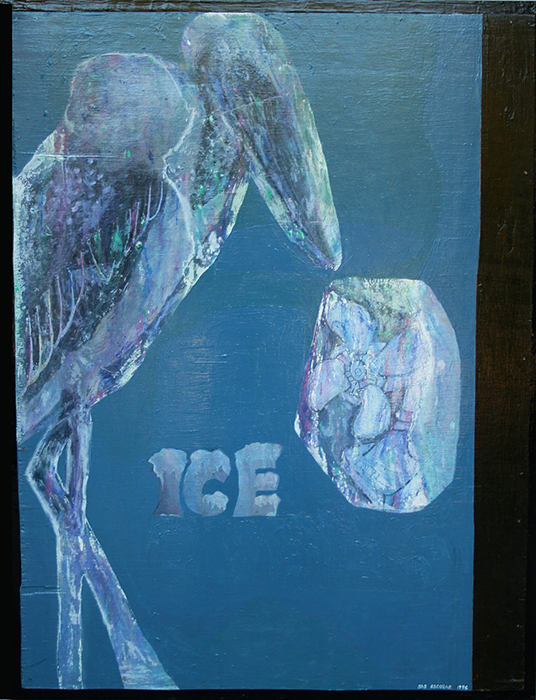 "'iced fan with iced marabou' ©1996, acrylic and graphite on wood, 38 1/2"" x 29 1/2"""