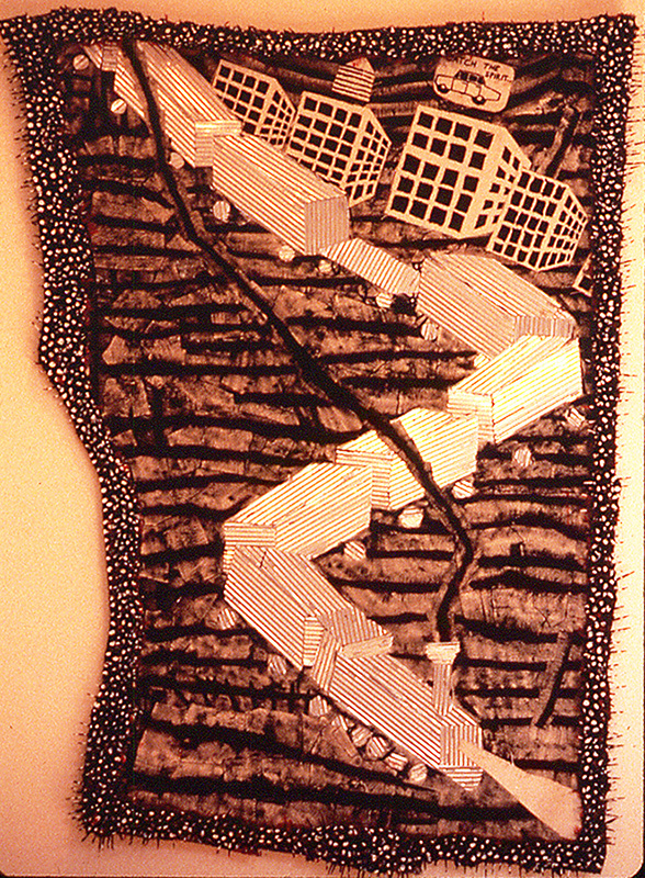 "'mystery train' ©1986, patched canvas, corrugated aluminum, acrylic, toothpicks, celluclay on wood, approx. 40"" x 23"""