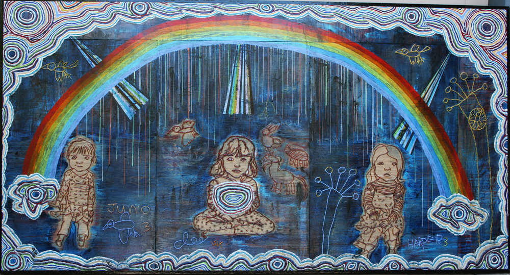 "'rainbow fairies (levitate)', 57 1/2"" x 109"", gels, acrylic, modeling paste, charcoal on wood ©2012, by steve sas schwartz"