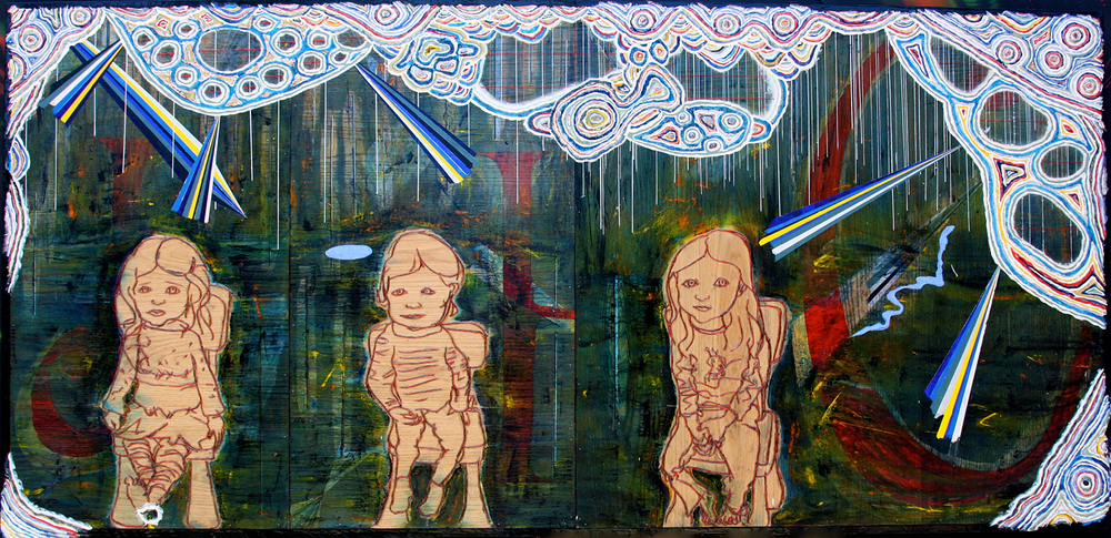 "'trio (JHC)', 47 1/2"" x 99 1/2"", gels, modeling paste, acrylic, charcoal on wood ©2012, by steve sas schwartz"