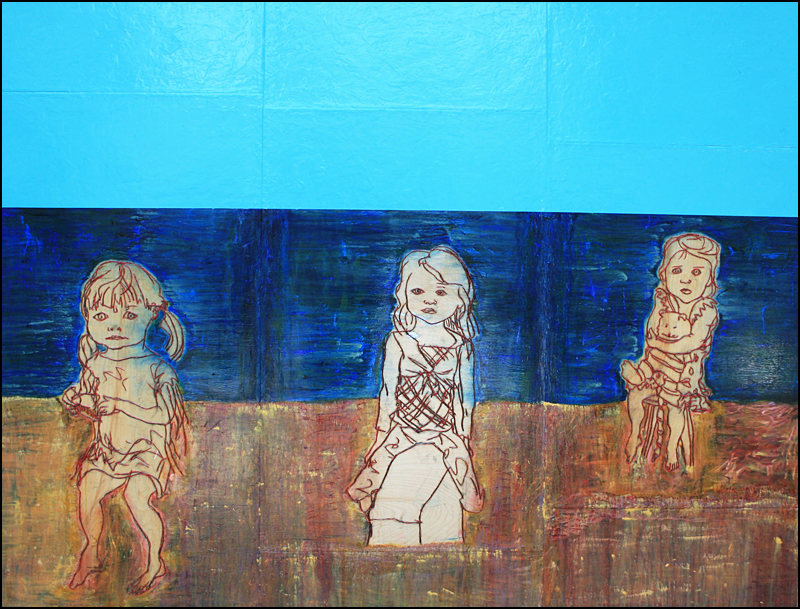"""beach"", enamel, charcoal, gels, acrylic on wood, 70"" x 91"" © 2013 by steve sas schwartz"
