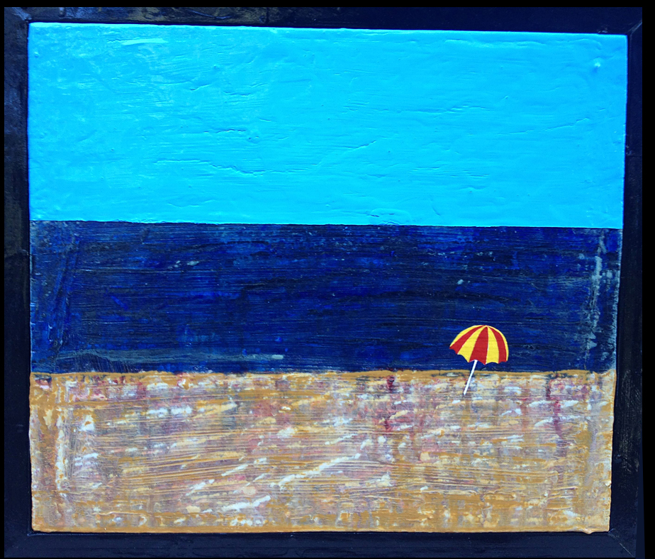 """daydream IV - beachcomber"" ©2013, 13.5"" x 15.5"", acrylic and enamel on wood, by steve sas schwartz"