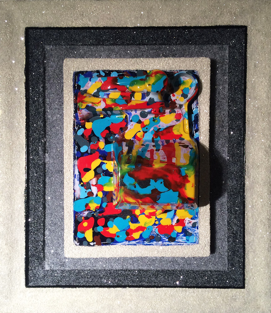 "22.5"" x 19.5"" x 5"", acrylic, enamel, blister pack, diamond dust, upgraded frame on wood ©2015"