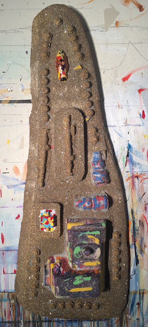 "#imageUnit.SCRIMSHAW.MANDIBLE.l.h.o.o.q ©2015,driftwood, blister packs, acrylic & enamel, diamond dust, 40.5"" x 14"" x 4"""