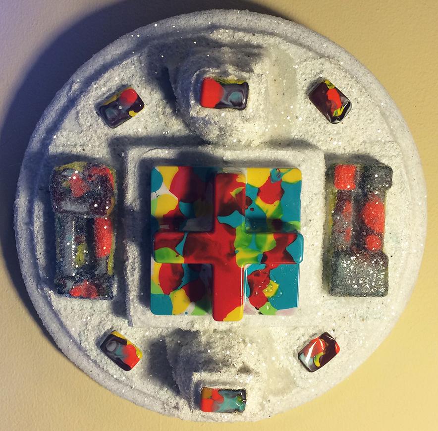 "#imageUnit.DEVICE.Pi.ANOMALY.3.14159 • ©2015 • 8.25"" dia. x 3.75"" • blisterpacks • acrylic • enamel • diamond dust • on oak plaque"