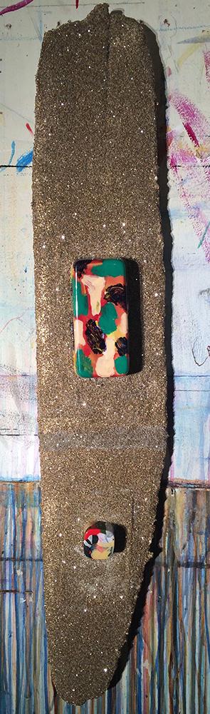 "#imageUnit.DOUBLE.CRISPY.2087-jm48 ©2015 • 34.75"" x 6 5/8"" x 2.75"" • tahoe driftwood • blisterpacks • acrylic • enamel • diamond dust"