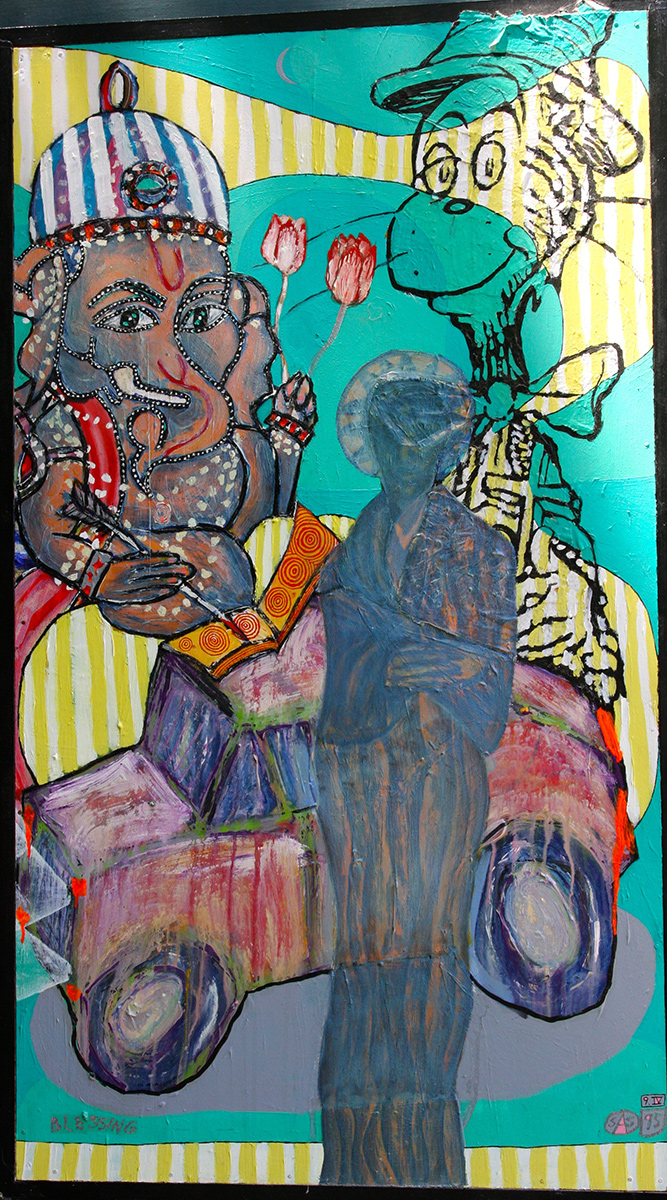 "'blessing' ©1995, 44"" x 25.5"", acrylic, collaged text, oil pastel on wood."